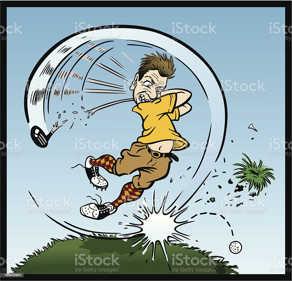 Crazy Golfer vector art illustration