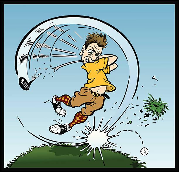 Crazy Golfer vector art illustration