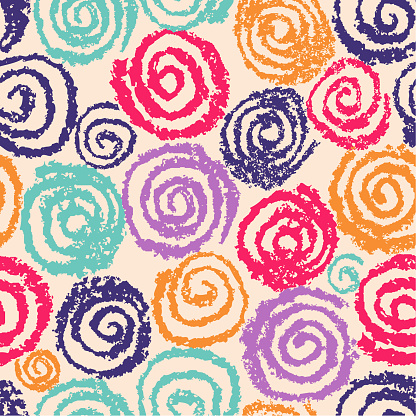 Crazy hand drawn spiral helix circles seamless pattern. Like kid's drawing of multicolor funny round elements.