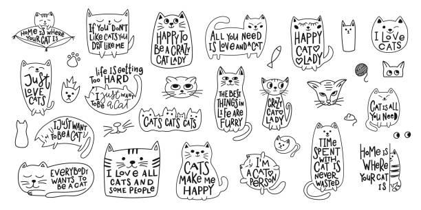 stockillustraties, clipart, cartoons en iconen met gekke liefde cat lady shirt citaat belettering - miauwen