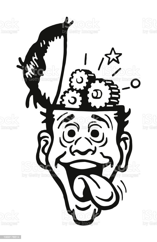 Crazy Man With Brain Wheels Turning Stock Illustration
