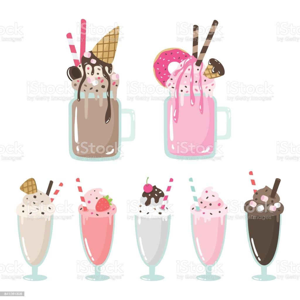 Milkshakes fous mignons caricature illustrations vectorielles. milkshakes fous mignons caricature illustrations vectorielles vecteurs libres de droits et plus d'images vectorielles de affiche libre de droits