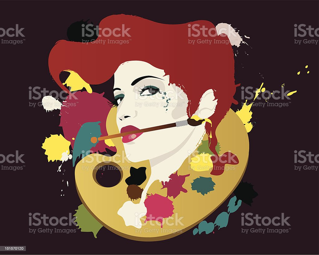 Crazy oil colours on the palette. royalty-free stock vector art