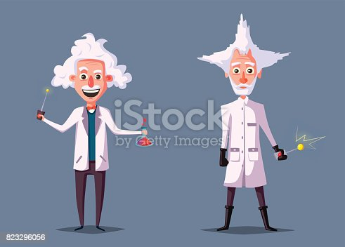 istock Crazy old scientist. Funny character. Cartoon vector illustration 823296056