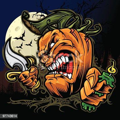istock Crazy Pumpkin Holding Knife at Night 97743614
