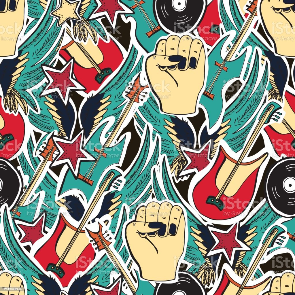 Crazy Punk Rock Abstract Vector Background Stock