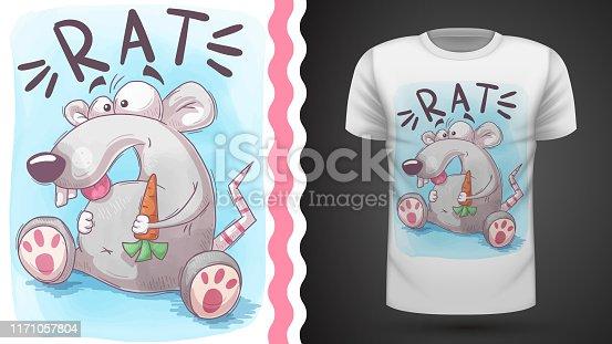 Crazy rat - idea for print t-shirt