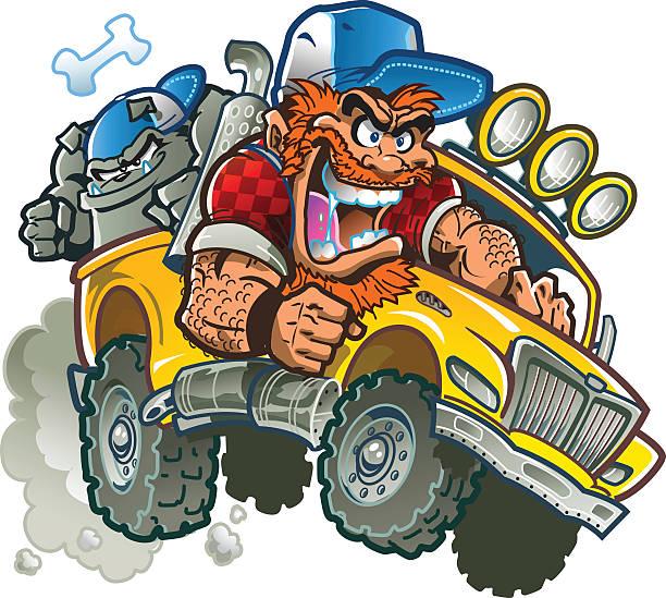 Crazy Redneck In Pickup Truck vector art illustration