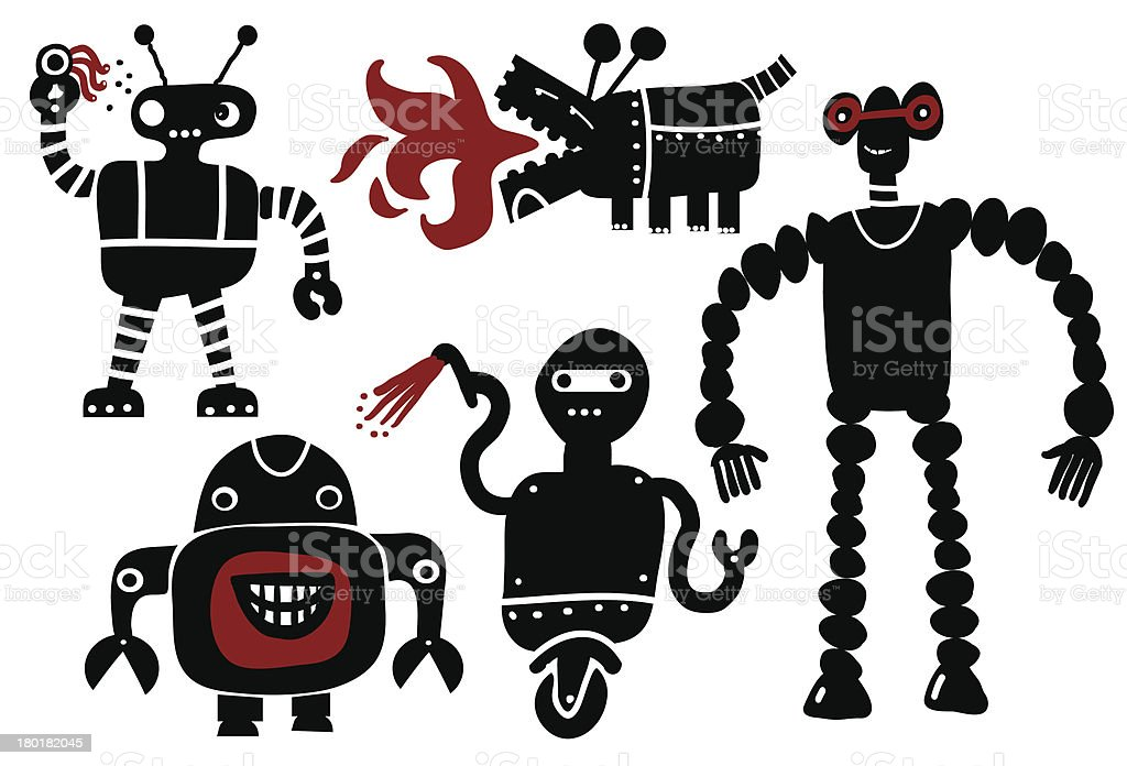 Crazy Roboter-set - Lizenzfrei Auge Vektorgrafik