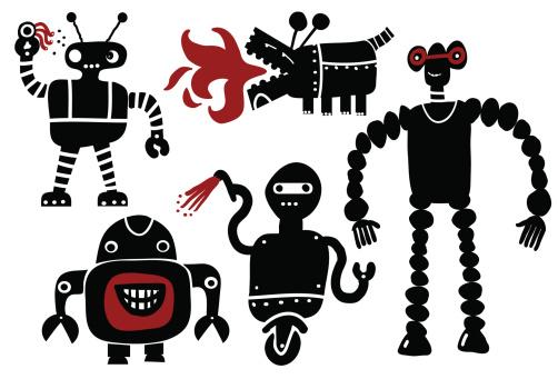Crazy Roboterset Stock Vektor Art und mehr Bilder von Auge