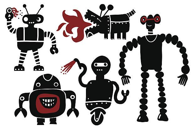 crazy roboter-set - extravagant schutzbrille stock-grafiken, -clipart, -cartoons und -symbole