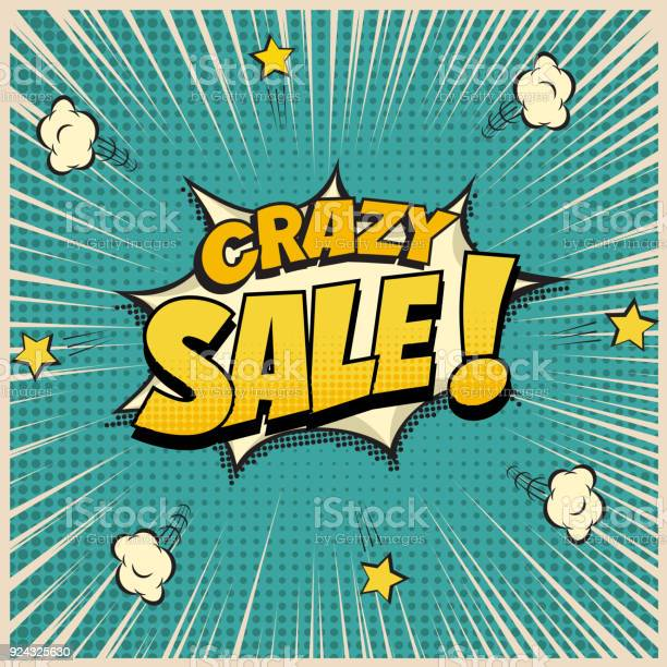 Crazy sale word on pop art or comic book background vector vector id924325630?b=1&k=6&m=924325630&s=612x612&h=h4fgvtjrtf6ywnbwylhb6a3jtautkiwzctg2ogprdbu=
