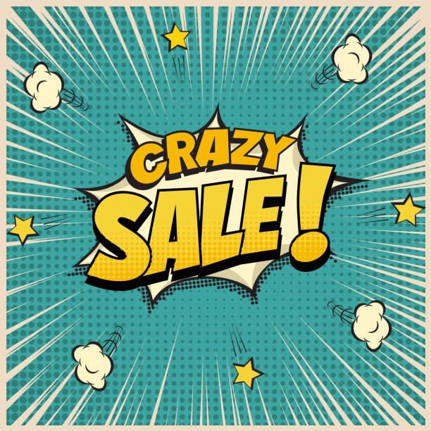Crazy Sale word on pop art or comic book background. Vector illustration. vector art illustration