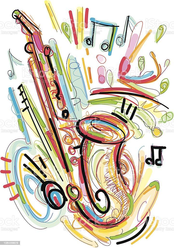 crazy sax royalty-free stock vector art
