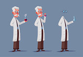 Crazy scientist drink potion. Funny character. Cartoon vector illustration. Mad professor. Science experiment. Invisible man. Person with glasses.