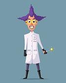 Crazy scientist. Funny character. Cartoon vector illustration. Mad professor. Science experiment. Remote controller. Doctor evil. Bad man