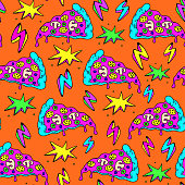 Crazy seamless pattern with patches, stickers, badges, pins with pizza slices, lightning strikes, and colorful explosions. Orange background.
