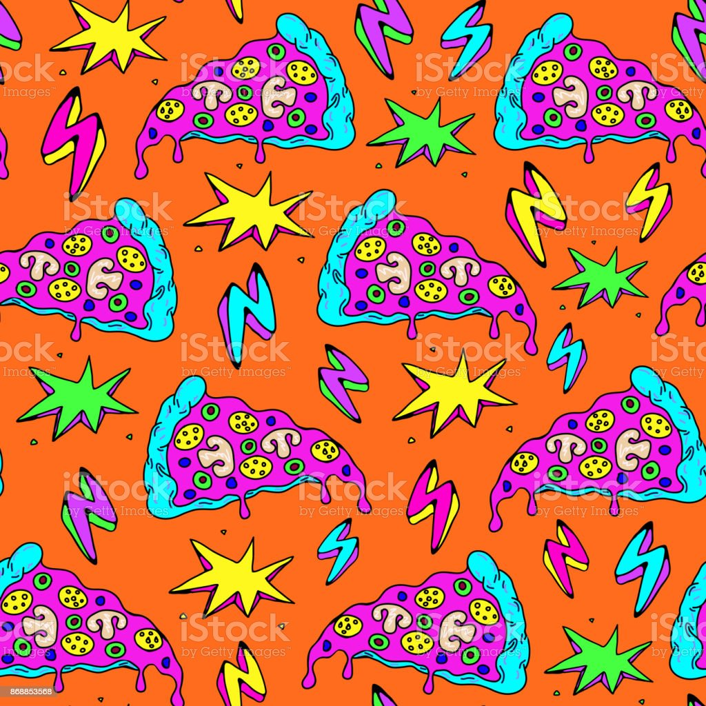 Crazy seamless pattern with patches, stickers, badges, pins with pizza slices, lightning strikes, and colorful explosions. Orange background. vector art illustration