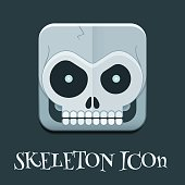 Crazy Skeleton Skull Square Icon