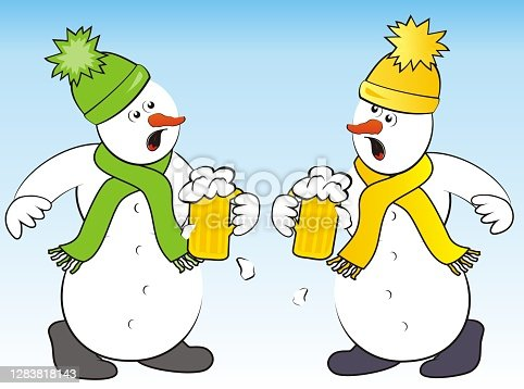 istock crazy snowmen and beer, funny vector illustration 1283818143