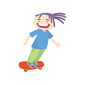istock Crazy teenager with violet dreadlocks skateboarding fast isolated on white background 1210329095