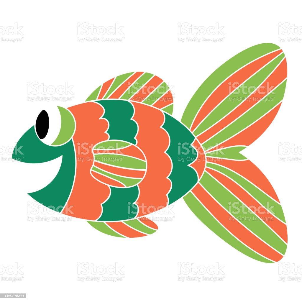 Crazy tropical fish. Colorful cute cartoon doodle sea animal. Hand...