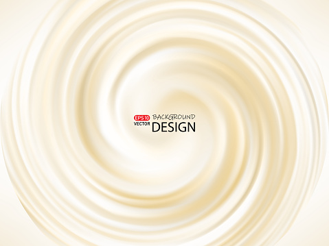 Cream abstract swirling background, creamy texture. vector