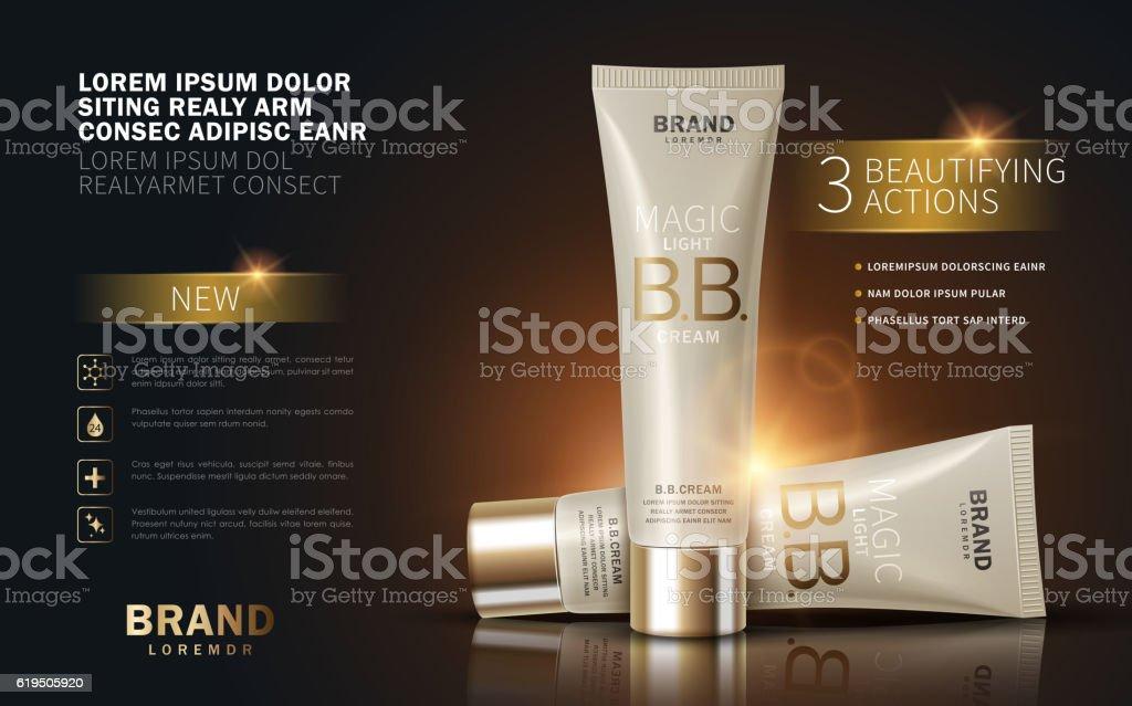 B.B. cream ads vector art illustration