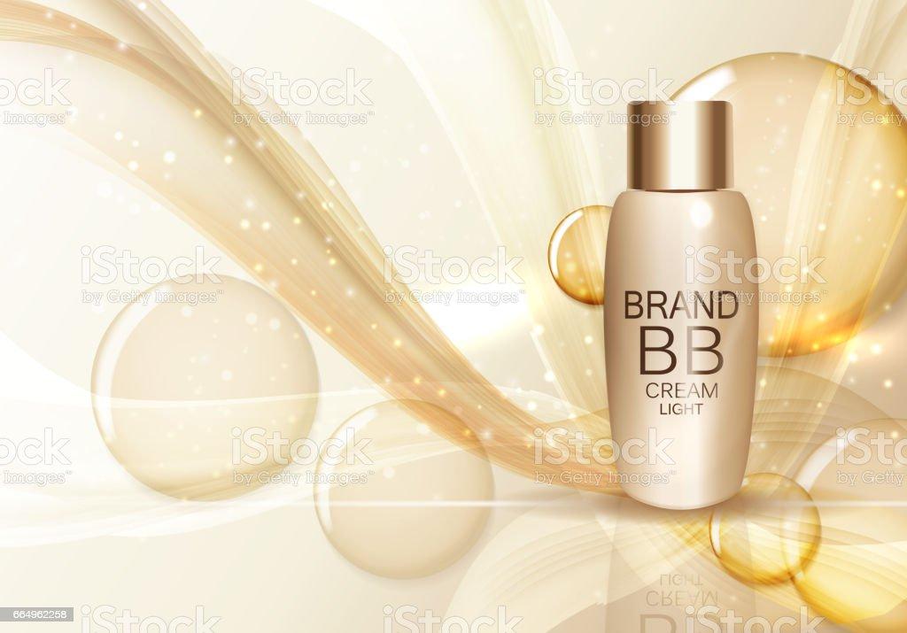 BB Cream Bottle Template for Ads or Magazine Background. 3D Real vector art illustration