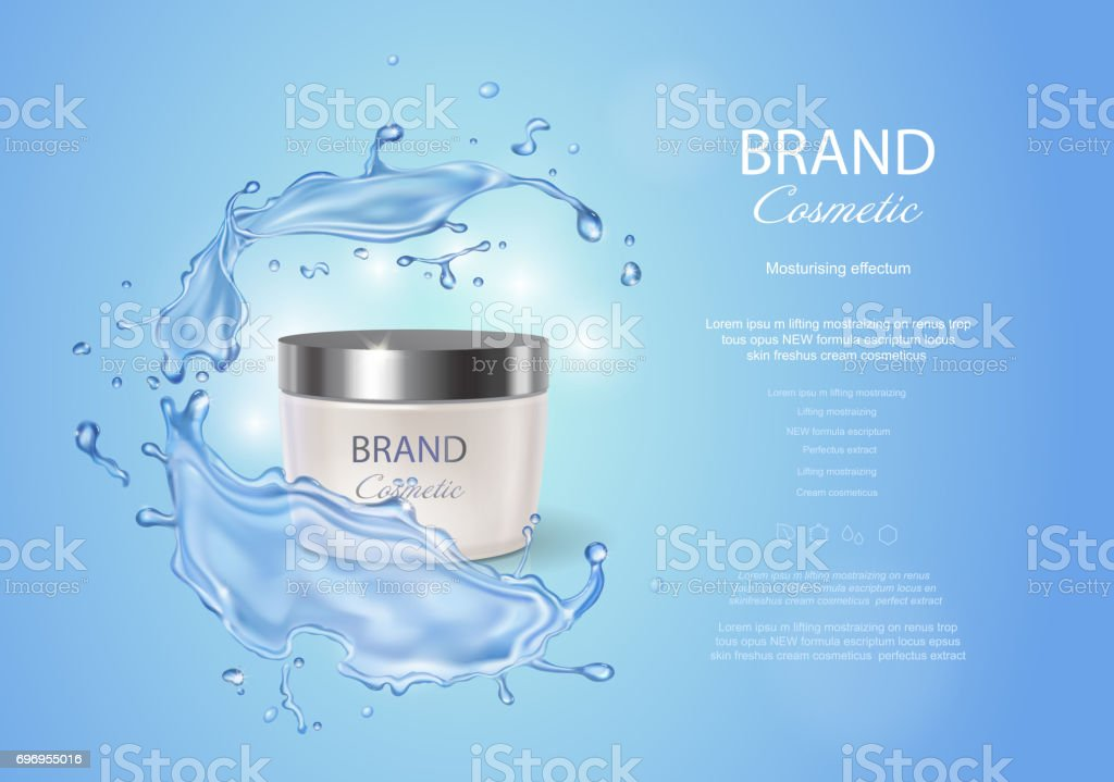 Cream box on a blue background of water with a splash. Premium ads, skin moisturizer, hydrating mask . Stock vector illustration vector art illustration