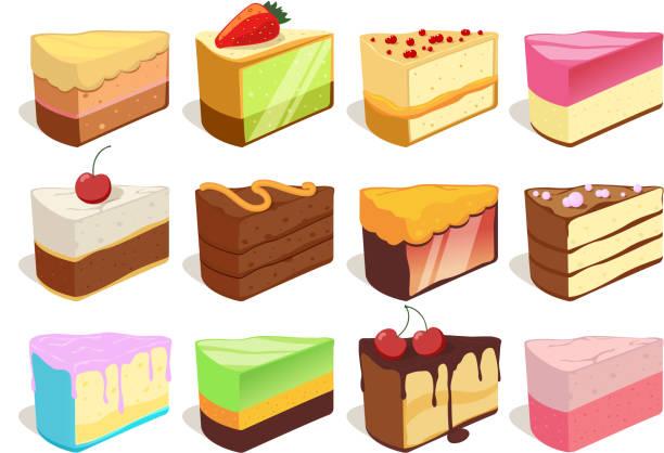 stockillustraties, clipart, cartoons en iconen met crème taart segmenten stukken. vectorillustraties instellen in cartoon stijl - taartpunt