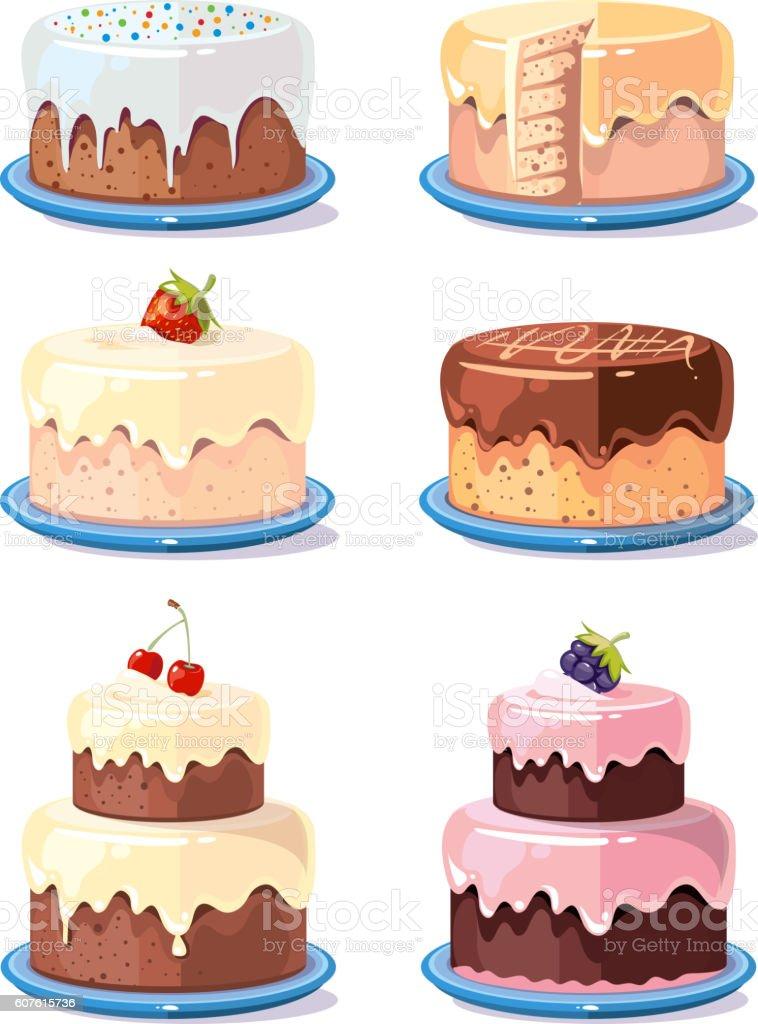 Cream cake tasty cakes vector set in cartoon style - Grafika wektorowa royalty-free (Bez ludzi)