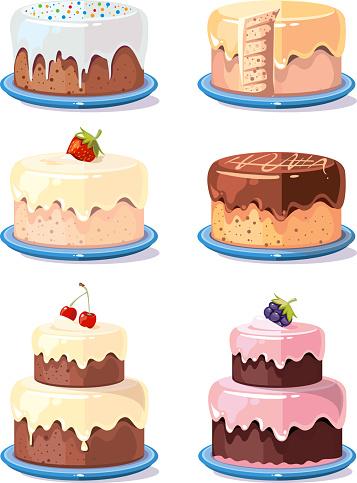 Cream Cake Tasty Cakes Vector Set In Cartoon Style - Stockowe grafiki wektorowe i więcej obrazów Bez ludzi