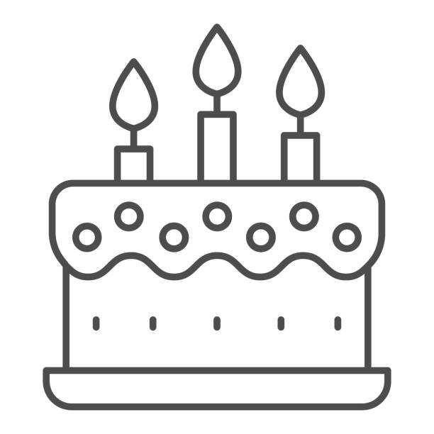 Cream cake with candles thin line icon, Birthday cupcake concept, dessert with three candles sign on white background, holiday cake icon in outline style for mobile, web design. Vector graphics. Cream cake with candles thin line icon, Birthday cupcake concept, dessert with three candles sign on white background, holiday cake icon in outline style for mobile, web design. Vector graphics anniversary symbols stock illustrations