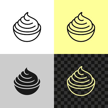 Cream cheese line icon. Soft cream in a small bowl