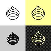 Cream cheese line icon. Soft cream in a small bowl symbol. Editable outline width.