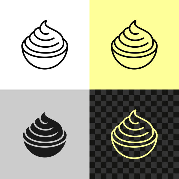 Cream cheese line icon. Soft cream in a small bowl Cream cheese line icon. Soft cream in a small bowl symbol. Editable outline width. pudding stock illustrations