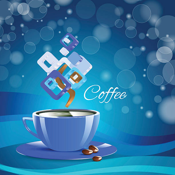 cream coffee blue cup cappuccino drink - stacked tea cups stock illustrations, clip art, cartoons, & icons