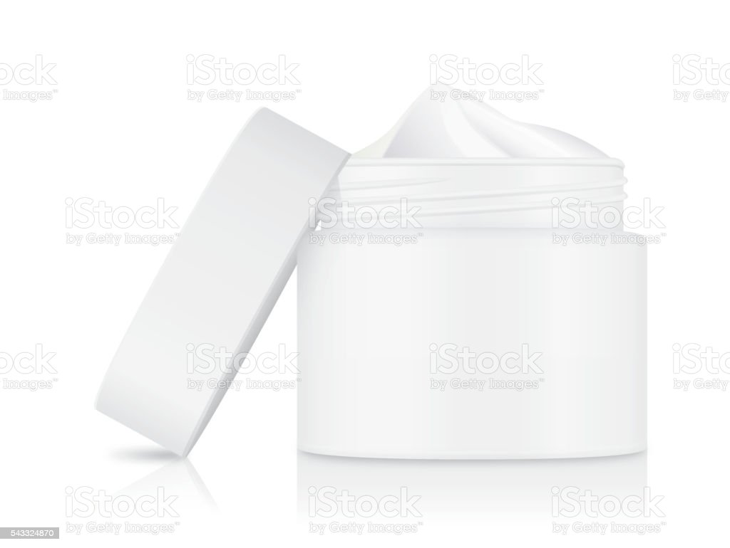 Cream container white color with open cap vector art illustration