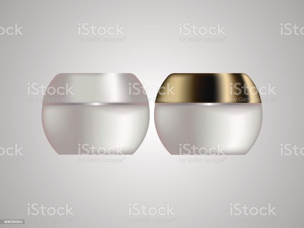 Cream cosmetics sample is white with Golden cap isolated vector art illustration