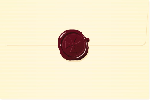 Cream envelope with red cross wax seal