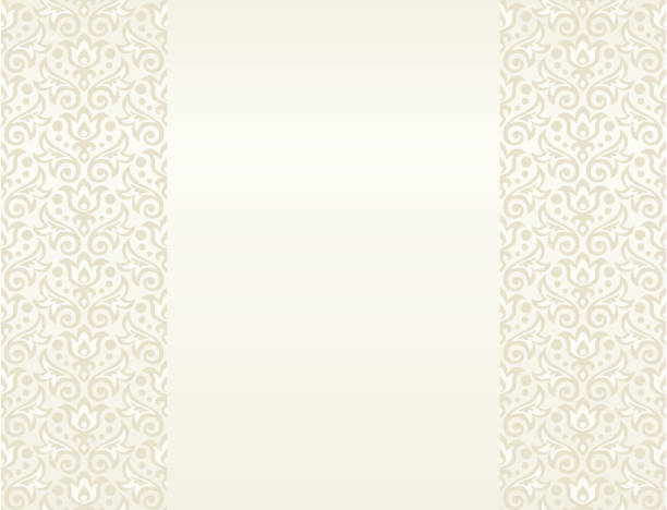 illustrazioni stock, clip art, cartoni animati e icone di tendenza di cream floral background for your text - sfondo matrimoni