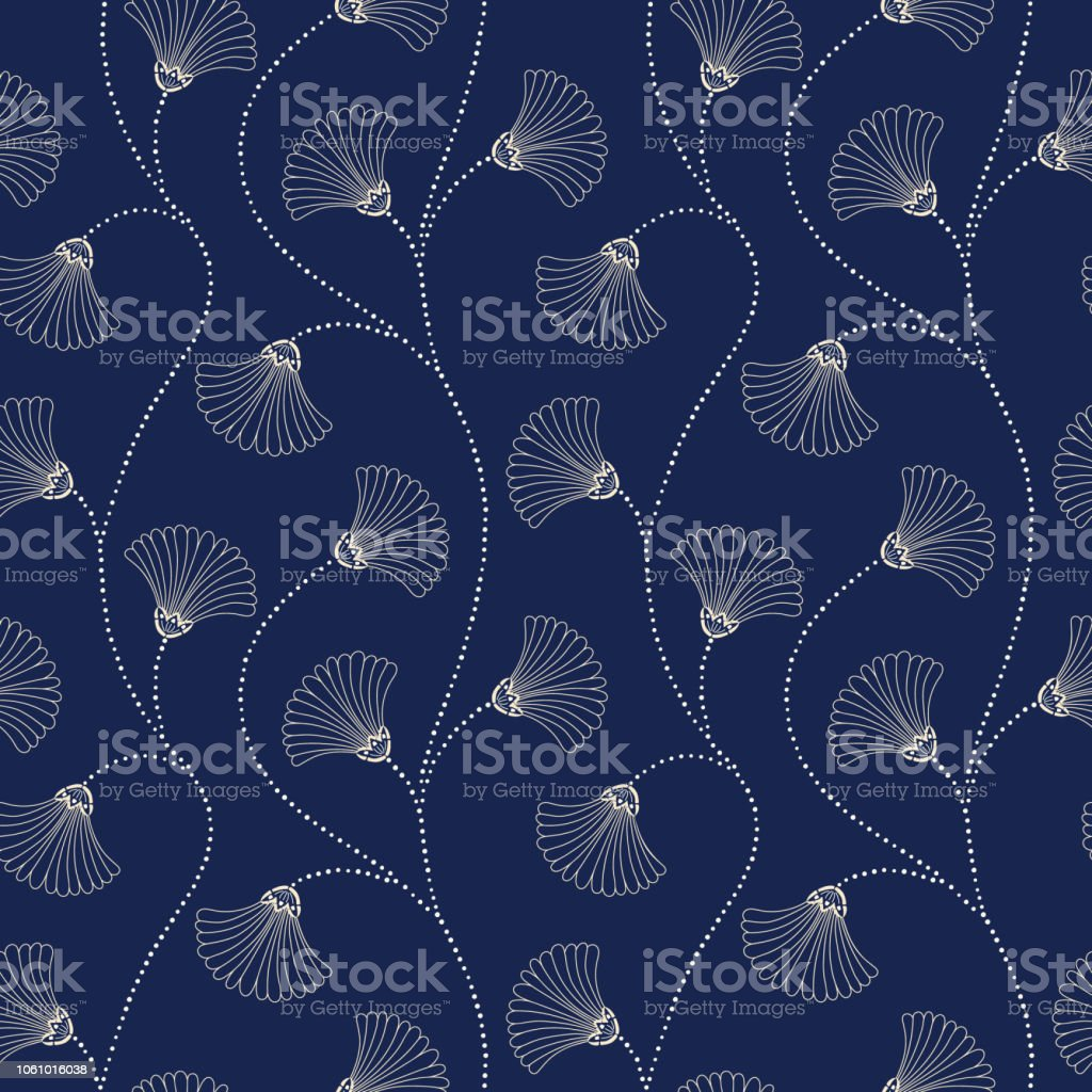 Cream Hand-Drawn Abstract Floral Vector Seamless Pattern on Indigo Background. Art Deco Blooms. Abstract Fan Flowers