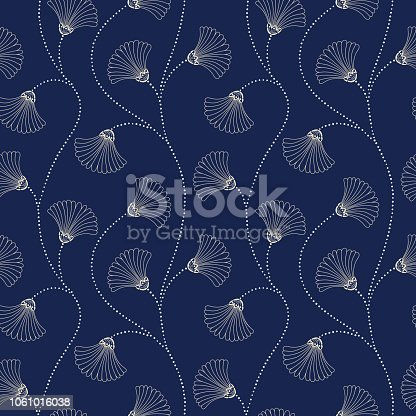 Cream Hand-Drawn Abstract Floral Vector Seamless Pattern on Indigo Background. Art Nouveau Blooms. Abstract Elegant Fan Flowers Texture. Perfect for textiles, wedding invitations.