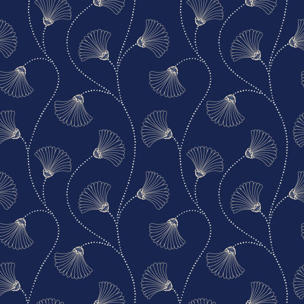Cream Hand-Drawn Abstract Floral Vector Seamless Pattern on Indigo Background. Art Deco Blooms. Abstract Fan Flowers vector art illustration