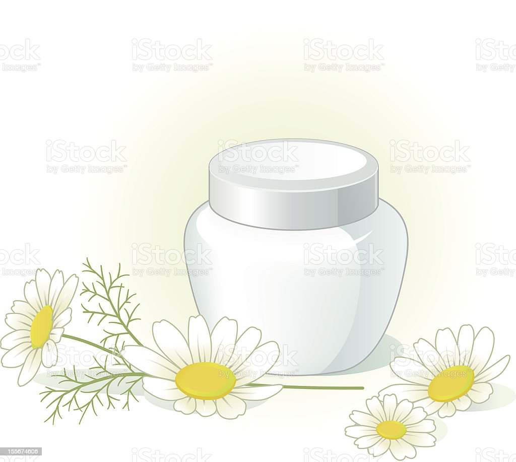 Cream jar and chamomile flowers on the pale green background royalty-free stock vector art