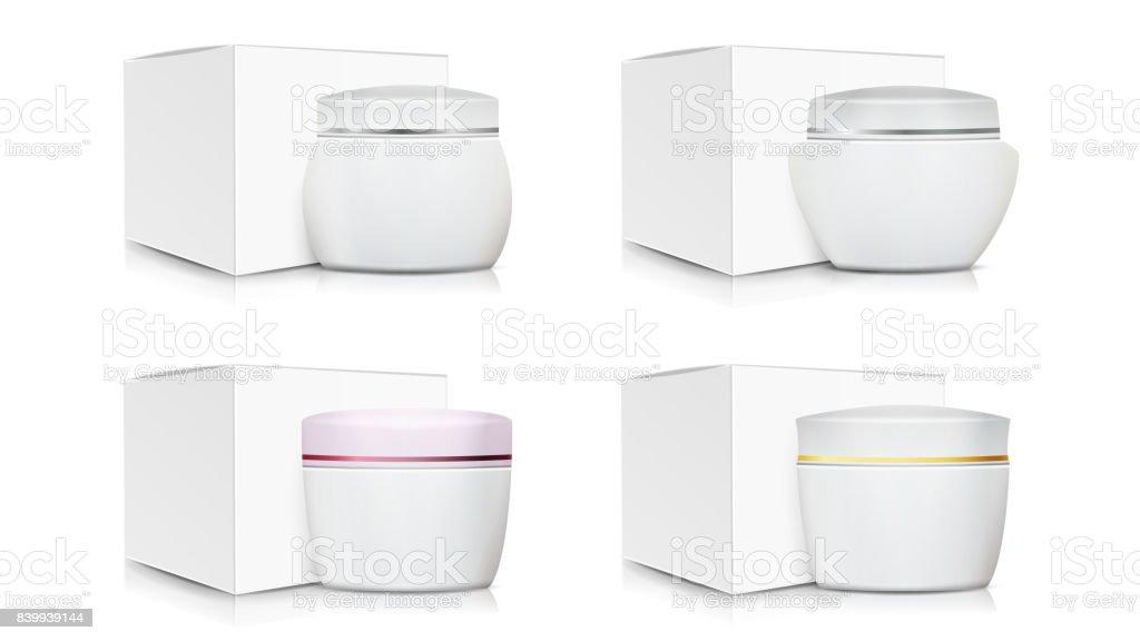 Favorit Creme Glas Verpackung Template Set Vector Weißes Papier Oder  SY36