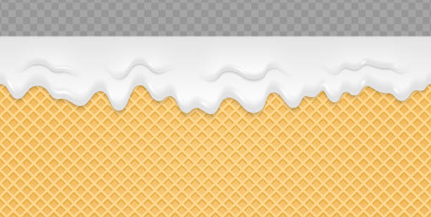 Cream Melted on Wafer Background. Ice cream flow soft seamless texture. Vector Illustration. vector art illustration