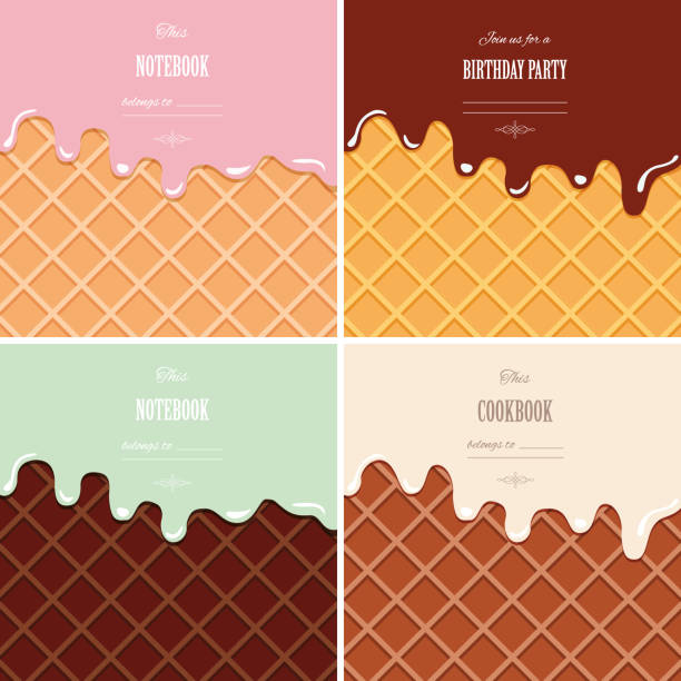 Cream melted on wafer background set. Ice cream cone close up. Cute design with sample text. Cream melted on wafer background set. Ice cream cone close up. Cute design with sample text. Vector EPS10. melting stock illustrations
