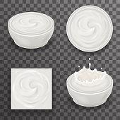Cream Milk Curl Splash Drops Realistic Transparent Background 3d Design